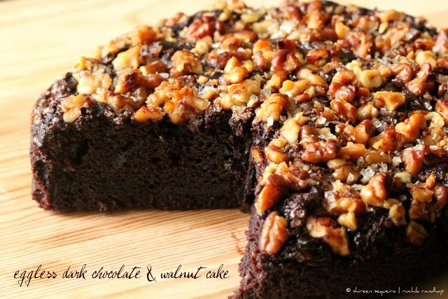Eggless Dark Chocolate & Walnut Cake