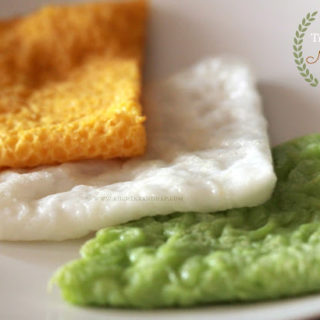 Tri Coloured Neer Dosa / Panpolay (Rice Crepes)
