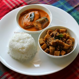 Mangalorean Plated Meal Series – Boshi # 5 – Special Ison/Surmai Curry, Soorn (Yam) Sukka & White Rice