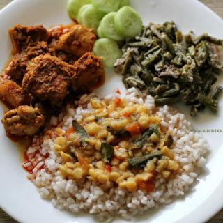 Mangalorean Plated Meal Series – Boshi # 4 – Chicken Sukka, Sango Sukhe, Daliso Saar & Rice