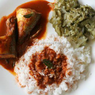 Mangalorean Plated Meal Series – Boshi#6 – Bangude Puli Munchi, Gosalem Thel Piao & White Rice