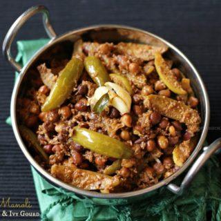 Kadale Manoli (Using Taal Masala Powder) ~ Mangalorean Bunt Style Black Garbanzo & Ivy Gourd ~ When The Hubby Cooks!