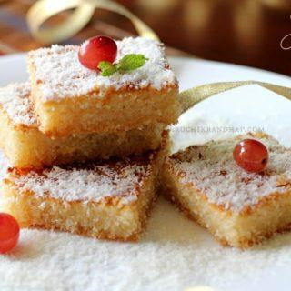 Coconut Basbousa ~ Eggless Middle Eastern Semolina Dessert Cake