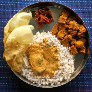 Mangalorean Plated Meal Series – Boshi# 10 – Fish Curry, Soorn Sukhen, Tendli Carrot Popai Lonche, Papdo