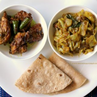 Mangalorean Plated Meal Series – Boshi#8 – Raisin Chicken, Cabbage Miryapito & Chapathis