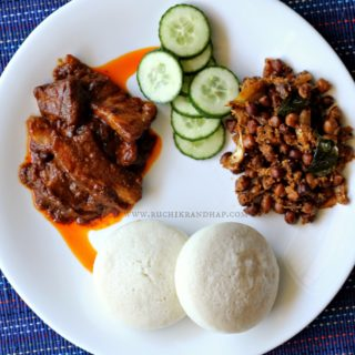 Mangalorean Plated Meal Series – Boshi#9 – Pork Indad, Sonay Sukhe & Sanna