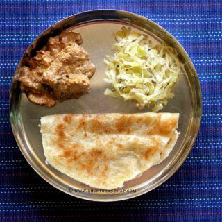 Mangalorean Plated Meal Series – Boshi# 12 – Hyderabadi Chicken, Cabbage Upkari & Plain Paratha