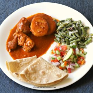 Mangalorean Plated Meal Series – Boshi# 13 – Chicken Indad, Sango Thel Piao, Kachumber, Chapathis