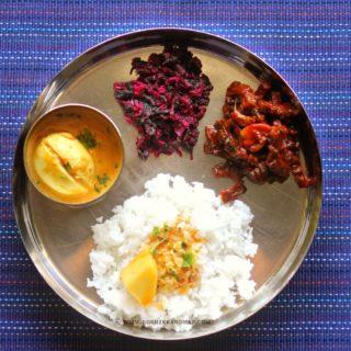 Mangalorean Plated Meal Series – Boshi# 15 – Egg Roce Curry, Thambdi Baji, Karathe Sukhe & Rice