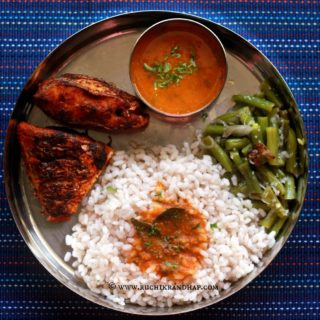Mangalorean Plated Meal Series – Boshi# 16 – Simple Fish Fry, Tomato Saar, Beans Thel Piao & Rice
