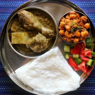 Mangalorean Plated Meal Series – Boshi# 17 – Chicken Green Curry, Chana Sukka, Salad & Neer Dosa