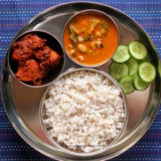 Mangalorean Plated Meal Series – Boshi# 19 – Chicken Masala Fry, Valchebaji Ani Guley, Salad & Rice