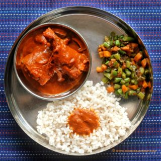 Mangalorean Plated Meal Series – Boshi# 20 – Mackerel Masala, Beans & Carrot Stir Fry and Rice