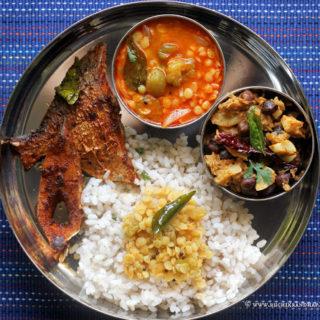 Mangalorean Plated Meal Series – Boshi# 22 – Kadgi Sukhi, Bazelli Masli, Daliso Saar & Rice