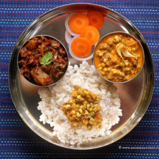 Mangalorean Plated Meal Series – Boshi# 23 – Padengi Ghassi, Choriz Bafat, Salad & Rice