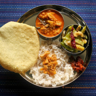 Mangalorean Plated Meal Series – Boshi# 24 – Kadgi Ghashi, Tendli Ani Moi, Prawn Pickle, Rice & Papad