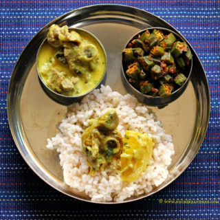 Mangalorean Plated Meal Series – Boshi# 25 – Mutton Stew, Dry Masala Bhindi & Rice
