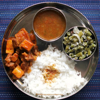 Mangalorean Plated Meal Series – Boshi# 27 – Pork Bafat with Yam & Radish, Tomato Saar, Beans Thel Piao