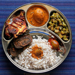 Mangalorean Plated Meal Series – Boshi# 29 – Ambadyanchi Kadi, Mitgi Sango Miryapito, Fried Fish, Fried Pathrode, Pickle & Rice