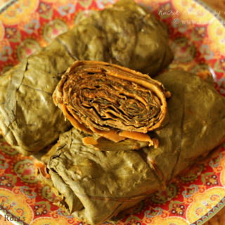 Pathrode / Pathrade ~ Steamed Colocasia Leaf Rolls ~ Method #2