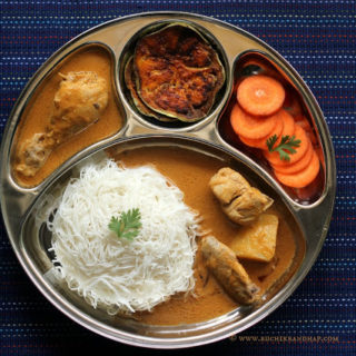 Mangalorean Plated Meal Series – Boshi# 30 – Sheviyo (Stringhoppers), Chicken Curry, Brinjal Fry & Salad