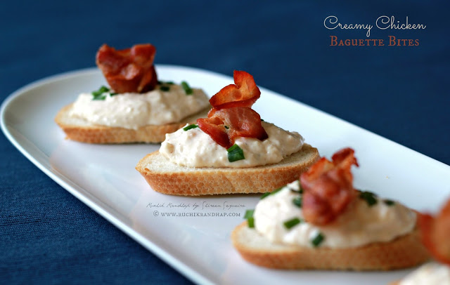 Creamy Chicken Baguette Bites ~ When The Hubby Cooks!
