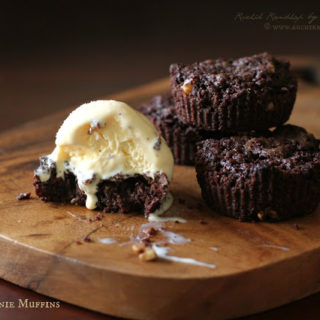 Eggless Brownie Muffins ~ One Bowl Recipe