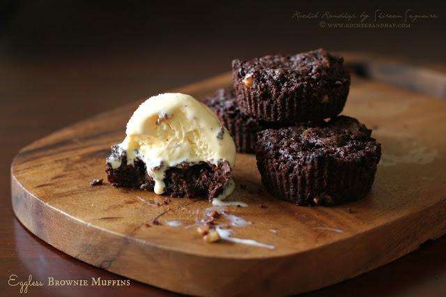 Eggless Brownie Muffins ~ One Bowl Recipe