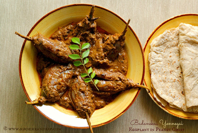 Badanekai Yennegai ~ North Karnataka Style Eggplant in Peanut Curry
