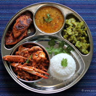 Mangalorean Plated Meal Series – Boshi# 34 – Crab Sukka Masala, Fried Fish, Daaliso Saar, Gosalem Thel Piyao & Rice
