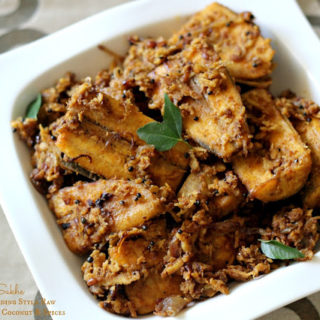 Kele Sukhe ~ Mangalorean Wedding Style Raw Banana with Roasted Coconut & Spices