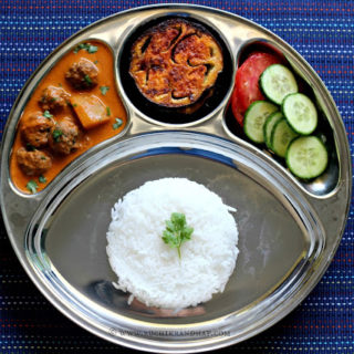 Mangalorean Plated Meal Series – Boshi# 35 – Meatball Curry, Fried Brinjals, Salad & Rice