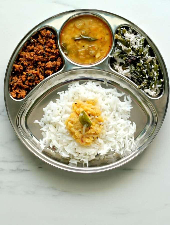 Season 2 – Mangalorean Plated Meal Series – Boshi# 39 – Rice, Bimbli Saar, Keema with Drumstick Leaves & Sango Thel Piao