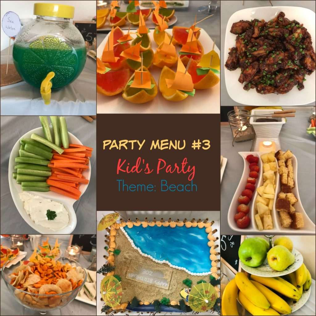 Party Island Beach: Party Menu#3 Kid's Party: Theme