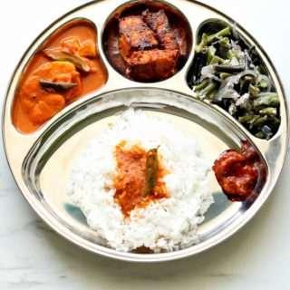 Season 2 – Mangalorean Plated Meal Series – Boshi#40 – Rice, Hot & Sour Shark, Sanaki Fry, String Beans & Prawn Pickle
