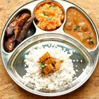 Season 2 – Mangalorean Plated Meal Series – Boshi#41 – Rice, Southekayi Huli, Fried Sardines & Carrot Kosumbari