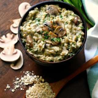 Savoury Oats with Mushrooms & Spinach ~ Gluten Free + Vegan