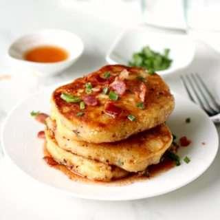 Mancakes ~ Savoury Pancakes with Bacon & Spring Onions